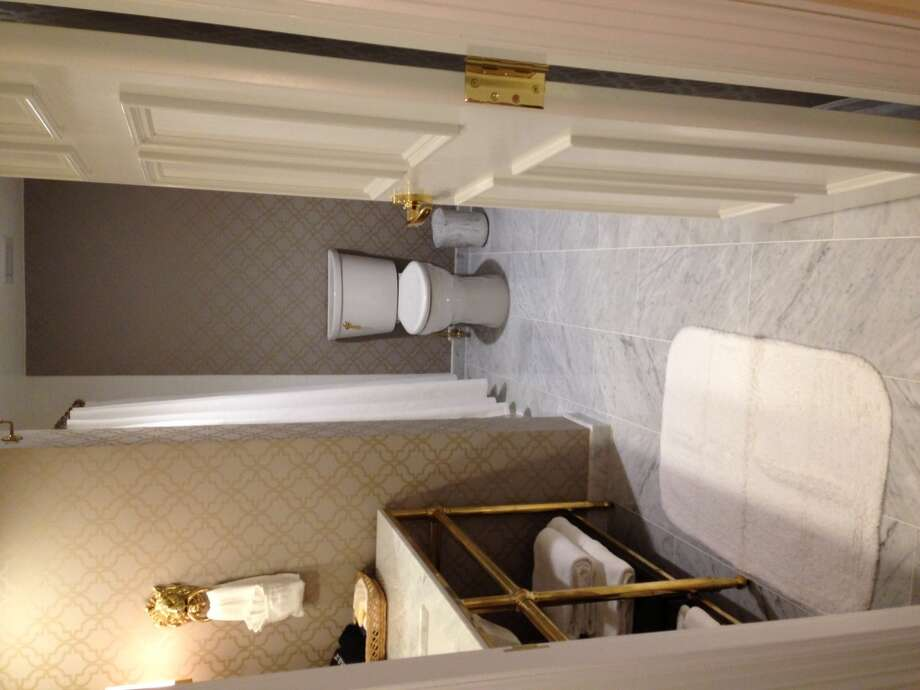 Carrera marble surfaces are prevalent throughout the hotel.