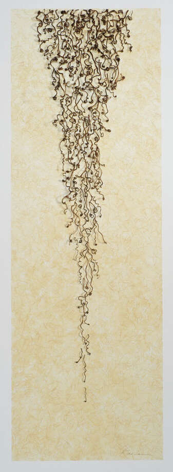 "Russell Serrianne's Anza III       Vine tendrils with clear shellac surface on gouache and ginwashi paper    30"" x 16"" (Courtesy the artist) Photo: Craig Murphy / ©2011 Craig Murphy"