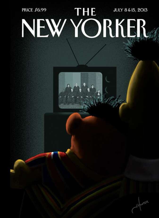 "The silhouettes of ""Sesame Street"" characters Bert and Critics said this silhouette of ""Sesame Street"" characters Bert and Ernie cuddling in the dark as they watch the Supreme Court's ruling on Proposition 8 and the Defense of Marriage Act it sexualized a show meant for kids."