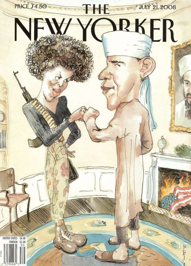 The New Yorker defended this cover as a commentary on the scare tactics they said many opponents used to attack the Obama candidacy in 2008.