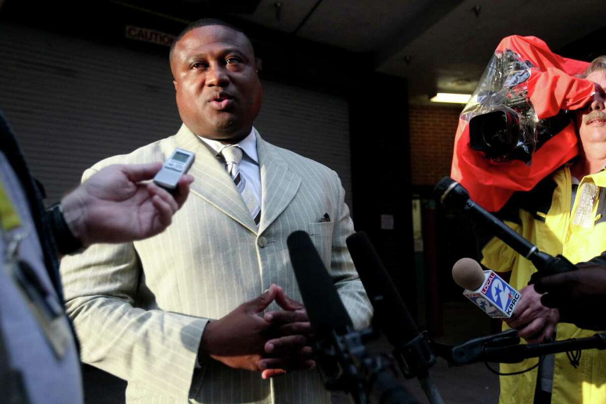 Quanell X answers questions about Trey Foster, the alleged Lone Star College shooter, after he turned himself to authorities at the Harris County Jail on Thursday, June 6, 2013, in Houston. ( Mayra Beltran / Mayra Beltran )