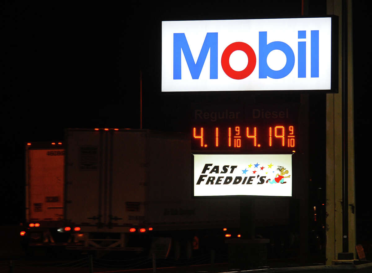 In recent days, gas prices have jumped as seen here at the Mobil gas station sign at the I95 northbound rest stop in Milford, Conn. on Tuesday July 16, 2013.