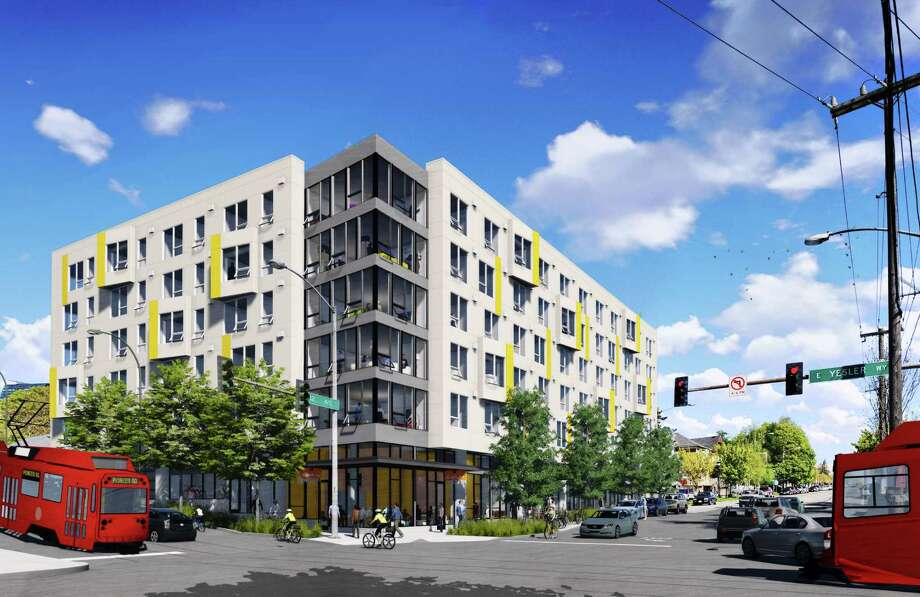 Anthem, the first private development set to start in Yesler Terrace, is shown in this artist's depiction. Photo: Mithun, Spectrum Development Solutions