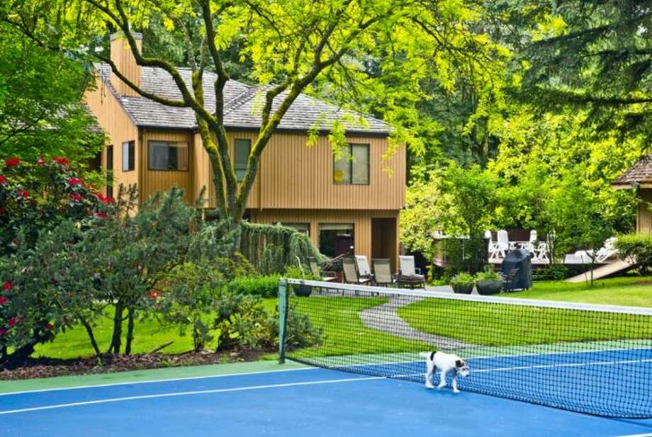 Tennis court of 13220 N.E. 24th St., in Bellevue. Photo: Courtesy Tere Foster And Moya Skillman, Windermere Real Estate
