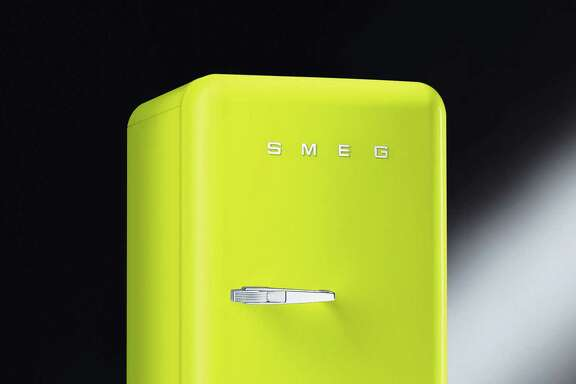 SMEG refridgerator in lime green $1,999 at West Elm, Foscari Interiors n-09