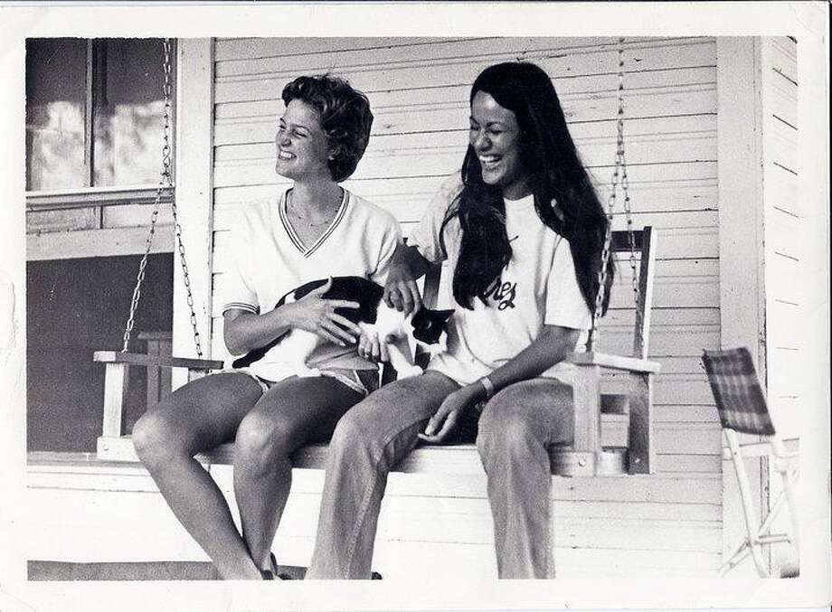 Then: The black and white photo is of Jane Ragsdale (left) and Edith Castillo, taken in Denton, Texas, when we were sophomore roommates at Texas Woman's University (1978). Photo: Reader Photo