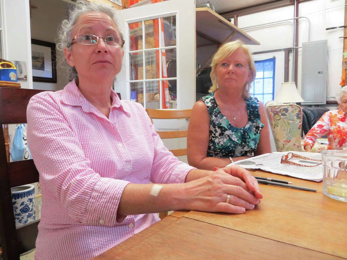 Karen Robertson (l) and Sandee Gasmier are among Grape Town residents concerned about their quiet lifestyle being disrupted by Bikini's Texas.