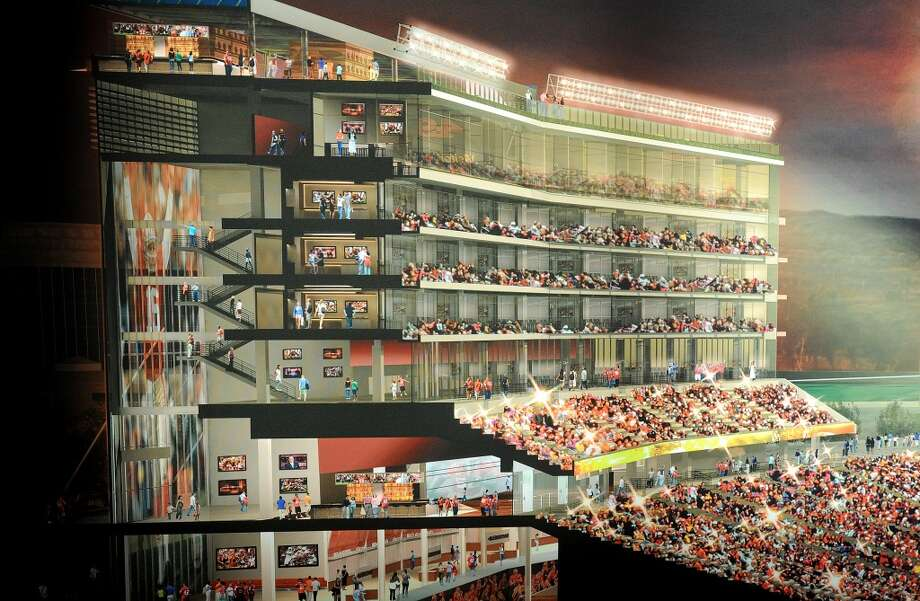 A rendering of the suite tower at the 49ers new stadium lines a wall at the team's New Stadium Preview Center. Photo: Noah Berger, Special To The Chronicle