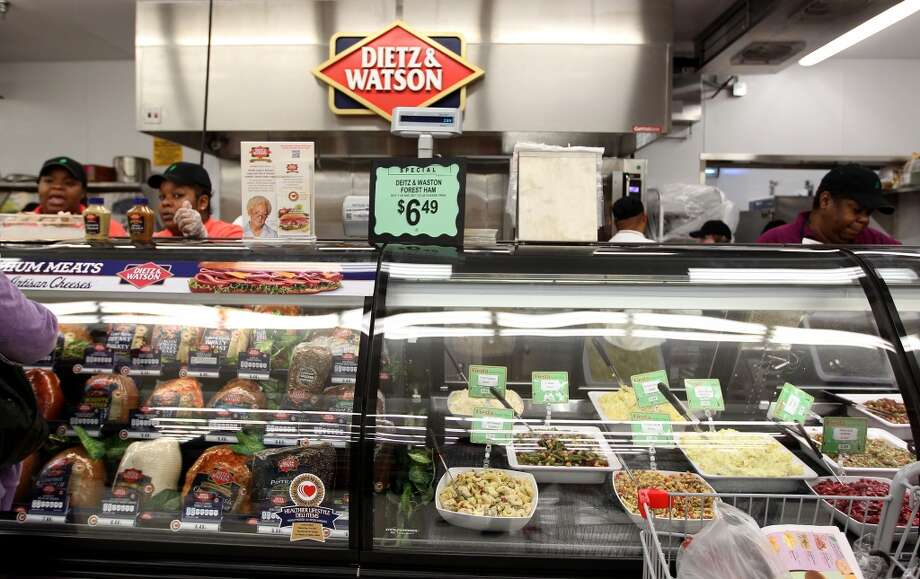Dietz & Watson cold deli counter during the grand opening of the Fiesta Market Place at 13833 Southwest Freeway, Wednesday, July 17, 2013, in Houston.  This new Fiesta Market Place in Sugar Creek will offer a number of firsts for a Fiesta store.( Karen Warren / Houston Chronicle )