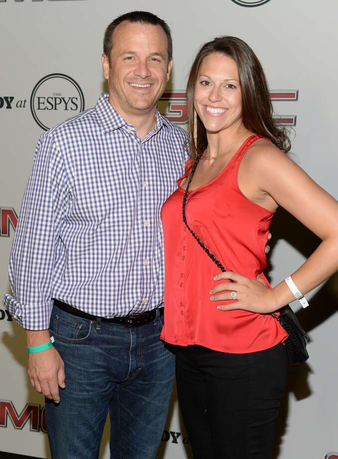 """University of Louisville Coach Jeff Walz (L) attends ESPN The Magazine 5th annual """"Body Issue"""" party at Lure on July 16, 2013 in Hollywood, California.  (Photo by Michael Kovac/WireImage)"""