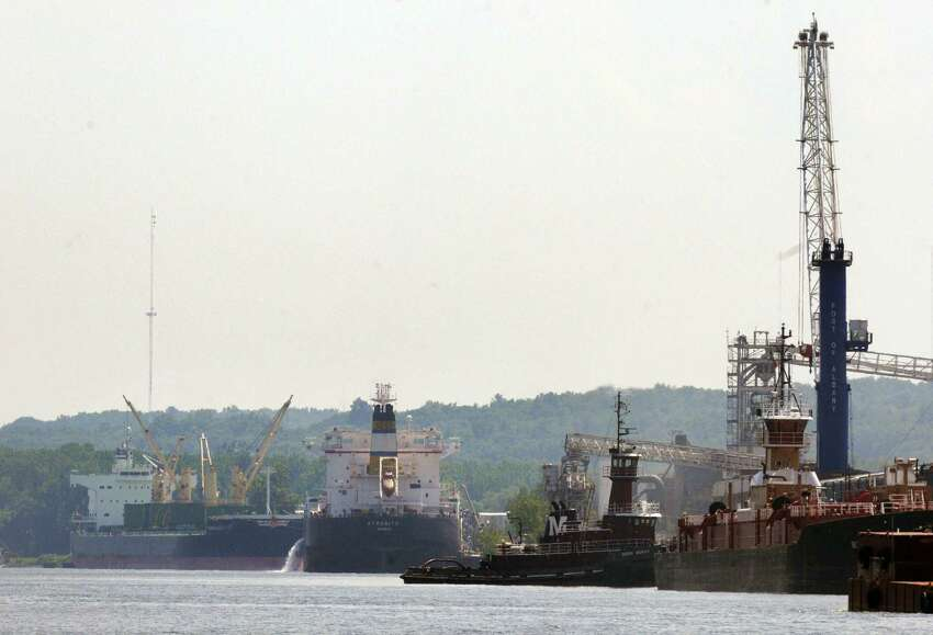 The Afrodite, center, docked at the south end of the Port of Albany on Wednesday July 17, 2013, in Albany, N.Y. (Michael P. Farrell/Times Union)