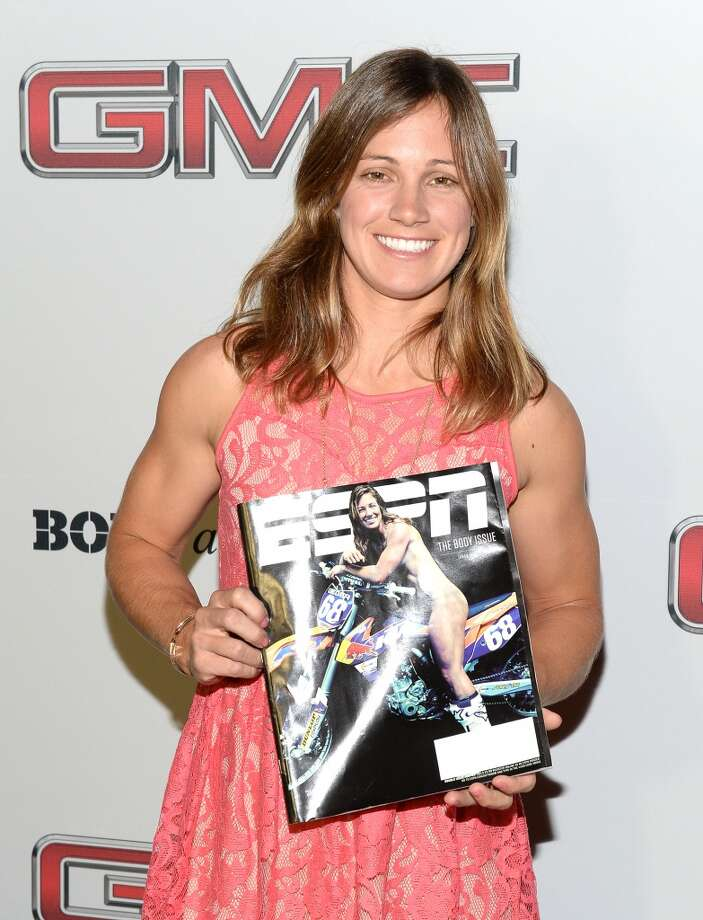 "Professional motocross racer Tarah Gieger attends ESPN the Magazine 5th annual ""Body Issue"" party at Lure on July 16, 2013 in Hollywood, California.  (Photo by Michael Kovac/WireImage)"
