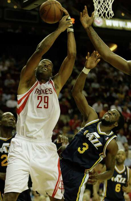 Marcus Camby, left, played 19 games for the Rockets in the 2011-12 season. Photo: Melissa Phillip, Staff / © 2012 Houston Chronicle