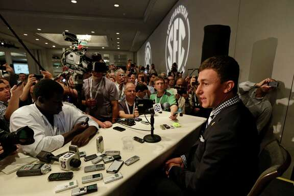 Johnny Manziel said he felt comfortable dealing with the vast amount of media attention he received Wednesday.