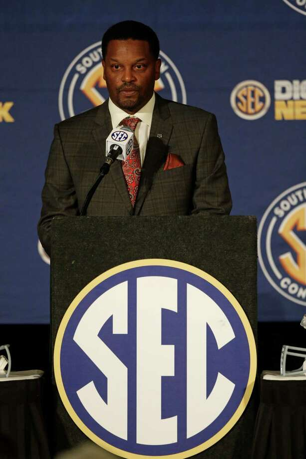 Texas A&M coach Kevin Sumlin talks with reporters during the Southeastern Conference football Media Days in Hoover, Ala., Wednesday, July 17, 2013. (AP Photo/Dave Martin) Photo: Dave Martin, STF / AP