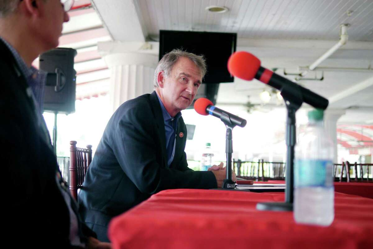 Chris Kay, the new head of The New York Racing Association, holds an interview with members of the media at the Saratoga Race Course on Wednesday, July 17, 2013 in Saratoga Springs, NY. (Paul Buckowski / Times Union)