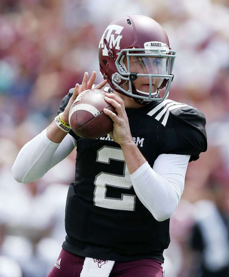 COLLEGE STATION, TX - APRIL 13:  Texas A&M Aggies quarterback Johnny Manziel #2 looks to pass during the Maroon & White spring football game at Kyle Field on April 13, 2013 in College Station, Texas.  (Photo by Scott Halleran/Getty Images) Photo: Scott Halleran / 2013 Getty Images