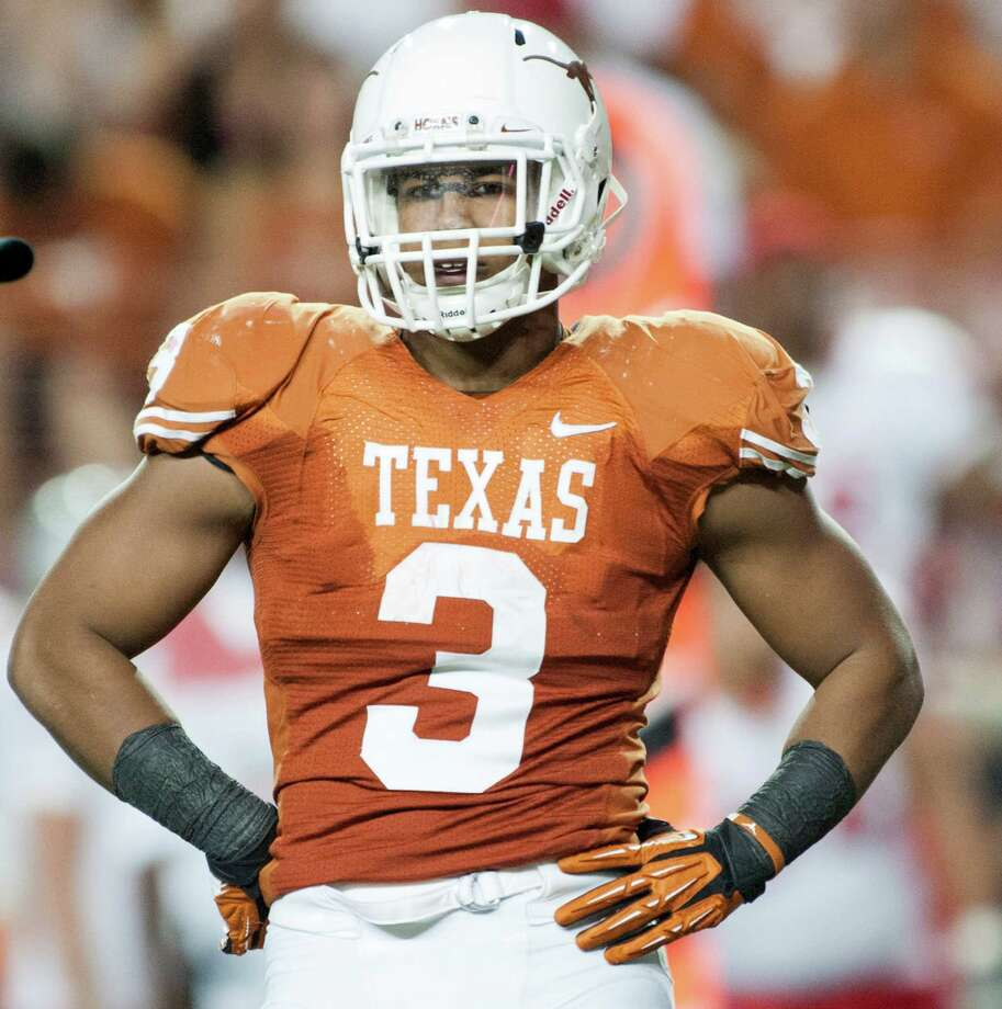 Texas LB Jordan HicksPHOTO: Hicks looks to the sideline against the New Mexico Lobos on Sept. 8, 2012, at Darrell K. Royal-Texas Memorial Stadium in Austin. Photo: Cooper Neill, Getty Images / 2012 Cooper Neill