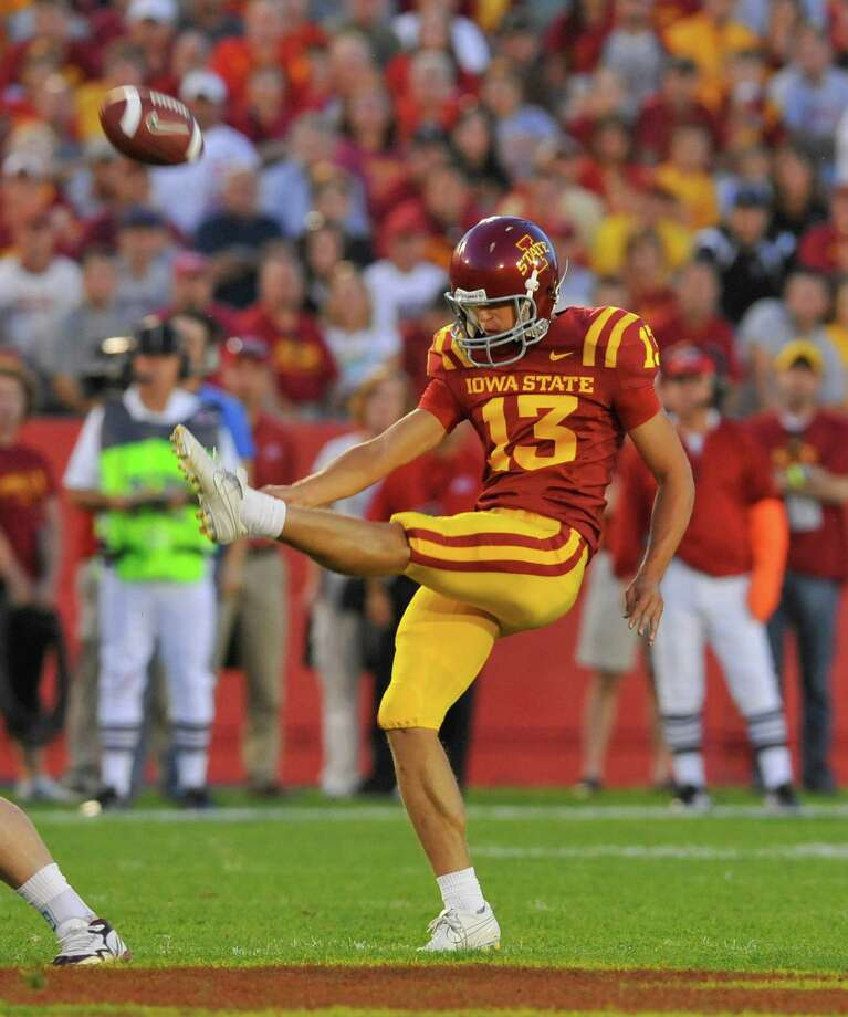 Iowa State P Kirby Van Der KampPHOTO: Van Der Kamp punts under pressure from the Utah Utes at Jack Trice Stadium on Oct. 9, 2010, in Ames, Iowa. Photo: David K Purdy, Getty Images / 2010 David Purdy