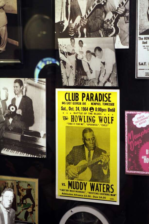 Photos and club bills from Memphis artists are part of the display at Sun Studio.