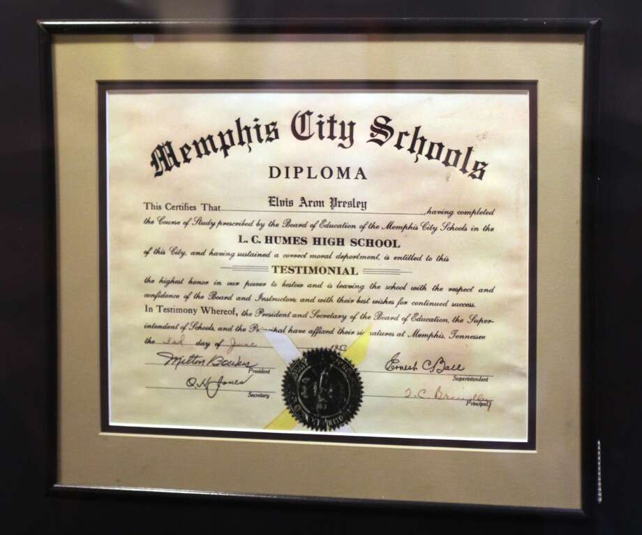 As well as Elvis' high school diploma, which he earned months before showing up at Sun Studio the first time to record on July 18, 1953.