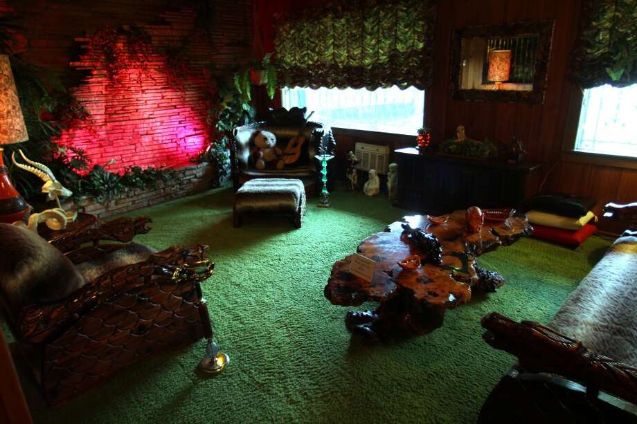 The famous Jungle Room at Graceland, the source of many of the property's myths and legends.