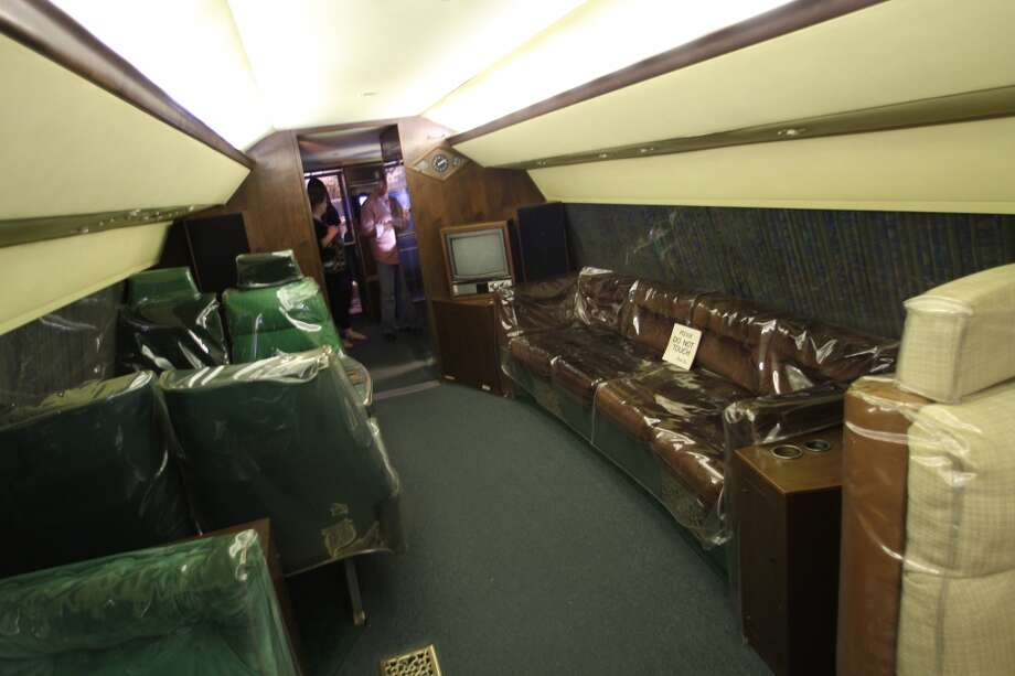 The decor and furniture on the Lisa Marie, the name of Elvis' private jet, which is permanently parked at Graceland.