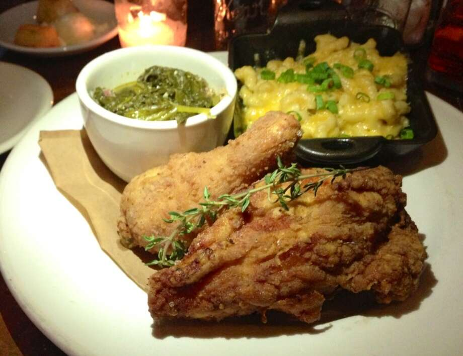 Fried chicken with greens and mac and cheese