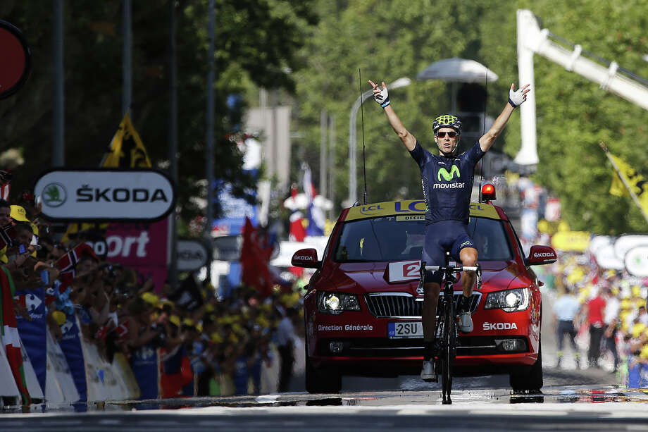 Portugal's Rui Alberto Costa celebrates as he crosses the finish line at the end of the 168 km sixteenth stage of the 100th edition of the Tour de France cycling race on July 16, 2013 between Vaison-la-Romaine and Gap, southeastern France. Photo: PASCAL GUYOT, AFP/Getty Images / 2013 AFP