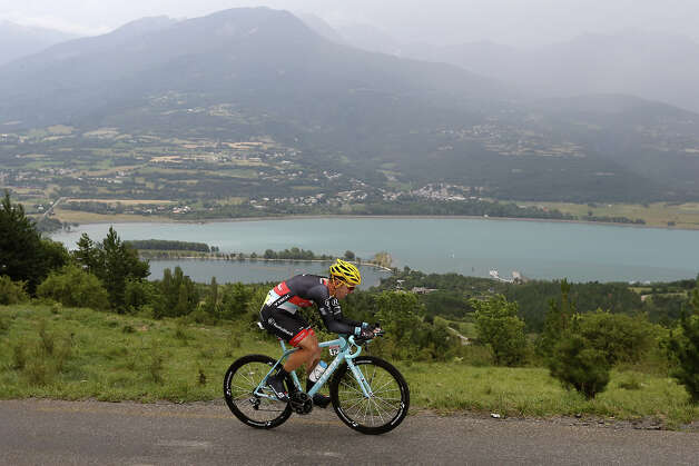 Belgium's Jan Bakelants rides during the 32 km individual time-trial and seventeenth stage of the 100th edition of the Tour de France cycling race on July 17, 2013 between Embrun and Chorges, southeastern France. Photo: JOEL SAGET, AFP/Getty Images / 2013 AFP