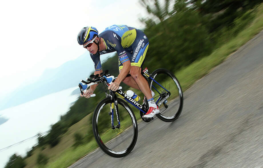 Michael Rogers of Australia and Team Saxo-Tinkoff in action during stage seventeen of the 2013 Tour de France, a 32KM Individual Time Trial from Embrun to Chorges on July 17, 2013 in Chorges, France. Photo: John Berry, Getty Images / 2013 John Berry