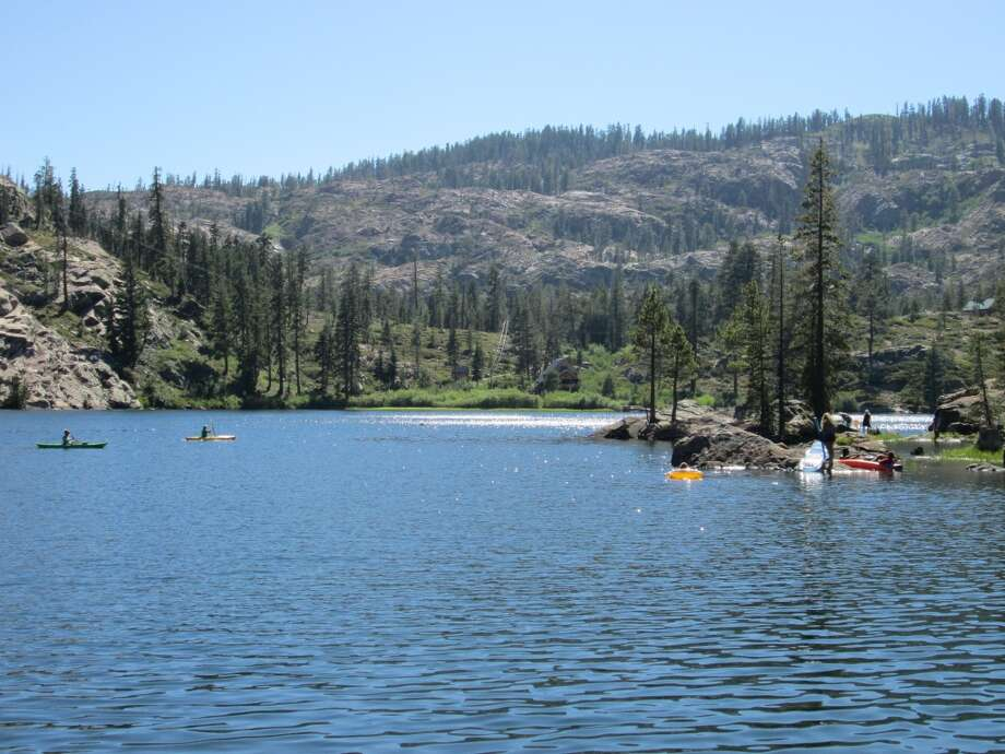 Salmon Lake in the Lakes Basin Recreation Area in Plumas County is ideal to drive up and hand launch kayaks -- there are 190 lakes without boat ramps like this