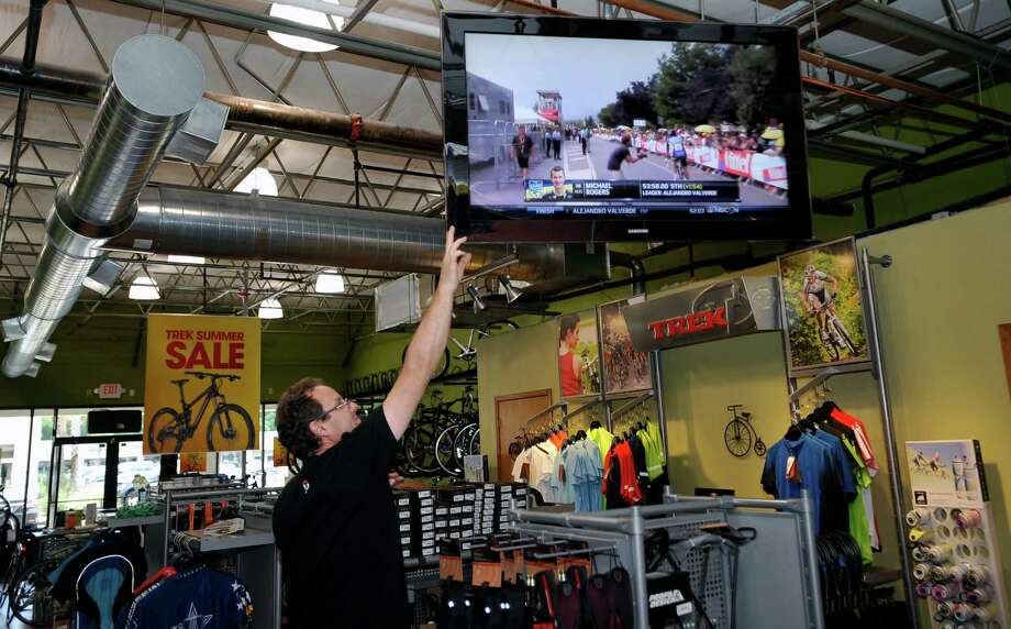 According to local bicycling enthusiasts, although interest in the Tour de France isn't quite what it was when everybody's favorite Texas racer brought glory to the state, winning the race year after year, bicycle culture in the area is still growing with people still interested in the race. Over at the Kickstand bike shop, owner Tom Simon, who has seen Lance Armstrong race, has the store TV tuned in to the race daily. Dave Ryan/The Enterprise Photo: Dave Ryan