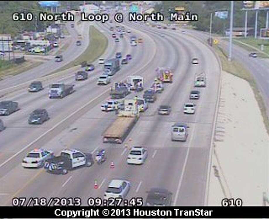 Traffic was slowed on the westbound North Loop Loop near N. Main after crash about 9 a.m. Thursday. Photo: Houston Transtar