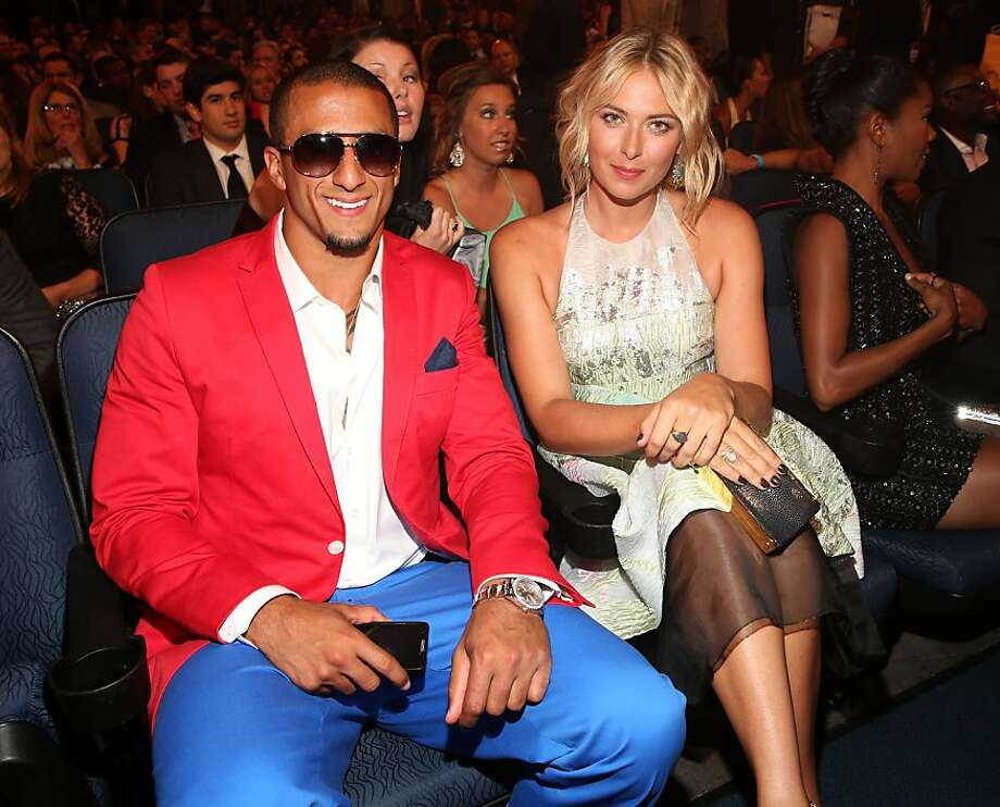 LOS ANGELES, CA - JULY 17:  NFL quarterback Colin Kaepernick (L) and Tennis player Maria Sharapova attend The 2013 ESPY Awards at Nokia Theatre L.A. Live on July 17, 2013 in Los Angeles, California.  (Photo by Christopher Polk/Getty Images for ESPY) Photo: Christopher Polk, Getty Images For ESPY