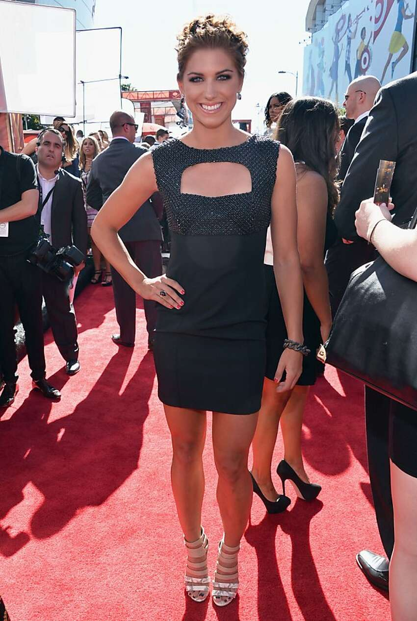 Professional soccer player Alex Morgan on the red carpet at the 2013 Espy Awards.