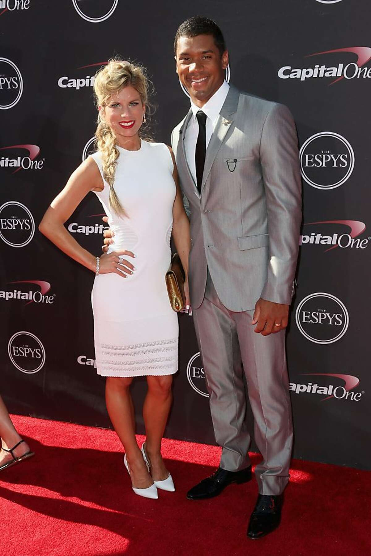 Seahawks quarterback Russell Wilson and Ashton Meem attend The 2013 ESPY Awards Nokia Theatre L.A. Live on Wednesday, July 17, 2013 in Los Angeles.