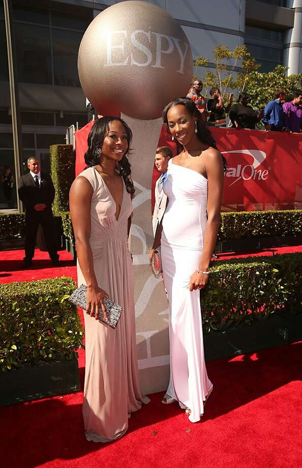 Olympic volleyball silver medalist Destinee Hooker (R) and guest attend The 2013 ESPY Awards. Photo: Christopher Polk, Getty Images For ESPY