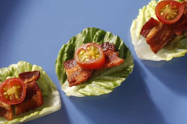 Mini Bacon, Lettuce, Avocado & Tomato Rounds as seen in San Francisco, California, on June 26, 2013. Food styled by Lynne Bennett.