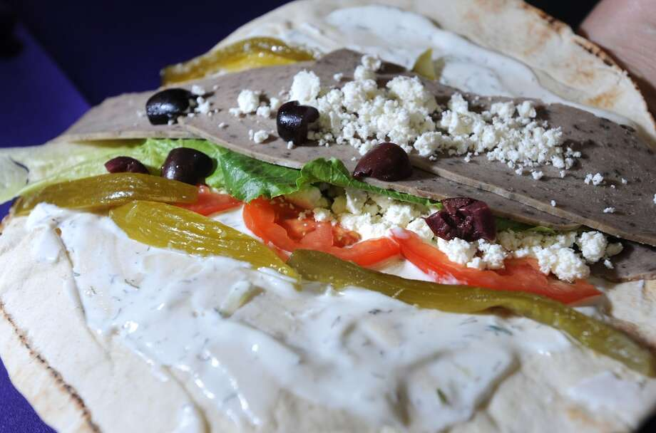 Gyros filled with lamb, beef, feta cheese, lettuce, tomatoes, olives and pickles at Abbie's Import's in Beaumont 5335 Fannett Road Photo taken Wednesday, July 8, 2012 Guiseppe Barranco/The Enterprise