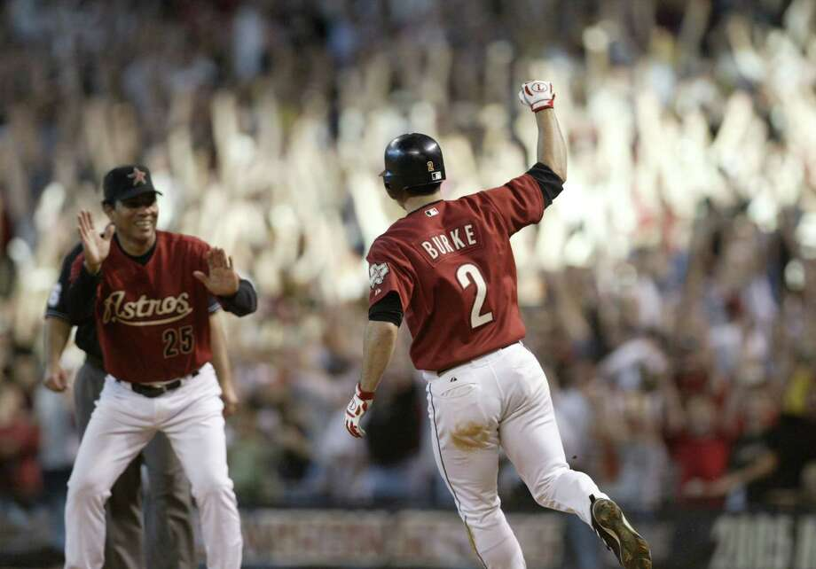 2 — Chris Burke: Burke never lived up to expectations, but the 18th-inning home run alone has him in this spot. Photo: Karen Warren, HOUSTON CHRONICLE / HOUSTON CHRONICLE