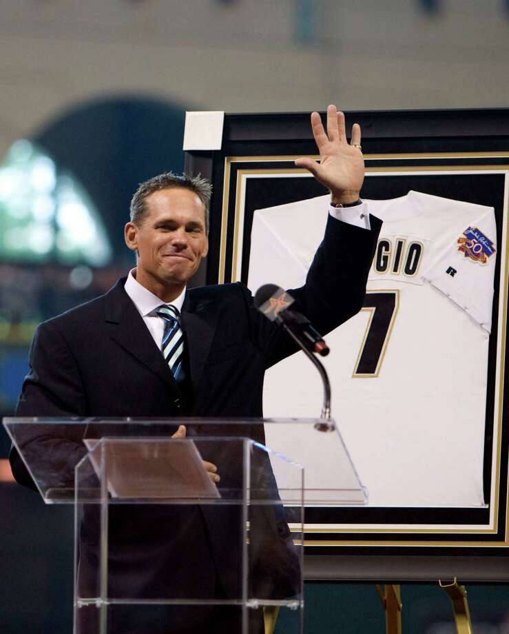 7 — Craig Biggio: Biggio, whose number is retired, is the only player in Astros history with 3,000 hits (3,060 to be exact). He's also third in home runs (291) and second in RBIs (1,175). Photo: James Nielsen, Houston Chronicle / Houston Chronicle