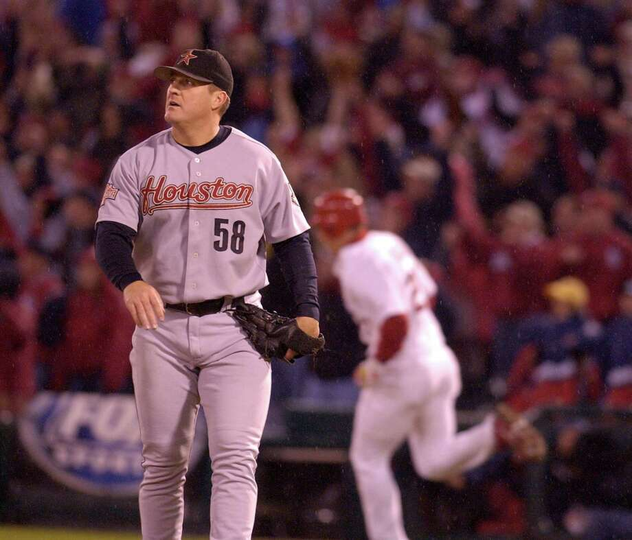 58 — Dan Miceli: Miceli was already a veteran pitcher when he came to the Astros for a two-year stint in 2003. He was a key reliever on the 2004 playoff team, going 6-6 with a 3.59 ERA. Photo: Melissa Phillip, Houston Chronicle / Houston Chronicle
