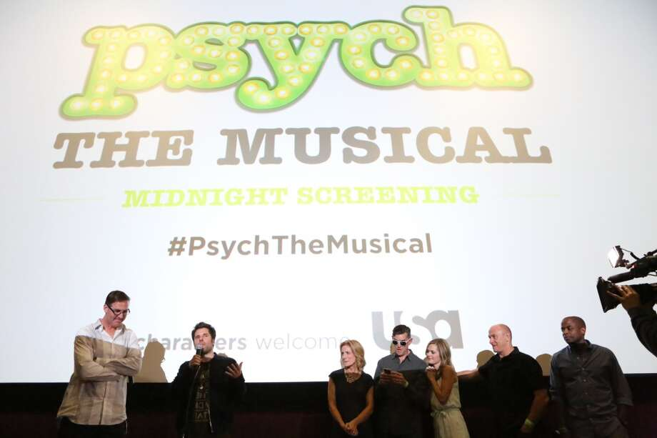 """PSYCH The Musical Screening"" -- Pictured: (l-r) Steve Franks, James Roday, Kirsten Nelson, Timothy Omundson, Maggie Lawson, Corbin Bernsen and Dule Hill at USA Network's Screening of PSYCH the Musical at Reading Cinemas in San Diego, CA on July 17th, 2013 -- (Photo by: Evans Vestal Ward/USA Network/NBCU Photo Bank via Getty Images)"