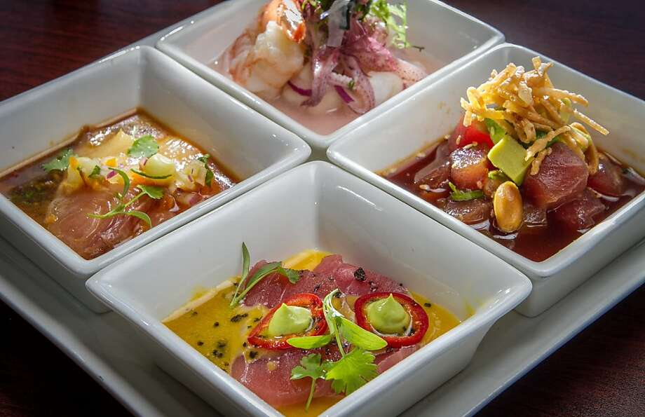 The ceviche sampler with plantains is among the Peruvian-inspired treats offered at Puerto 27 in Pacifica. Photo: John Storey, Special To The Chronicle