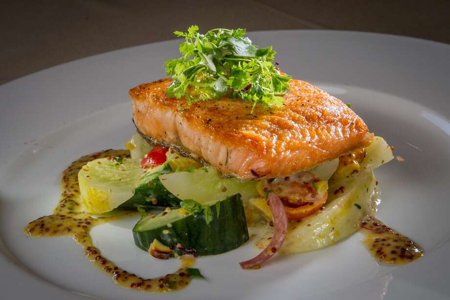 The Pan-seared Salmon ($24.50) at LB Steak in Menlo Park.