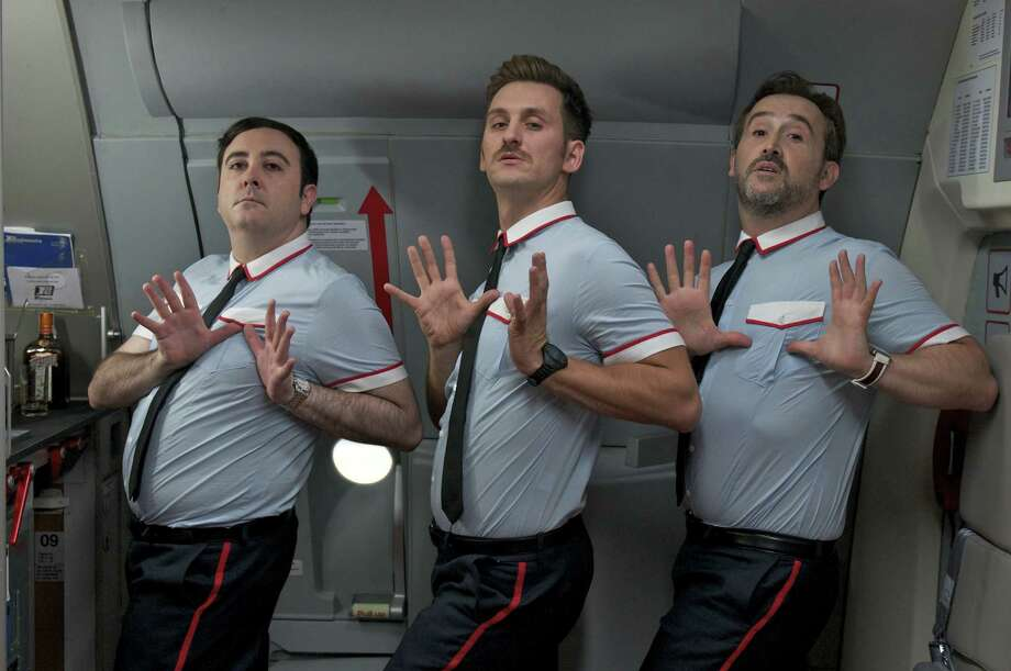 "Carlos Areces, from left, Raúl Arévalo and Javier Cámara star as flight attendants keeping passengers calm and entertained in ""I'm So Excited!"" Photo: Sony Pictures Classics"