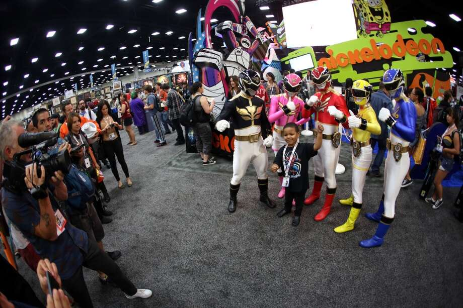 The Power Rangers Megaforce celebrate the 20th anniversary of the iconic franchise as they entertain fans at San Diego Comic-Con International 2013 at San Diego Convention Center on July 18, 2013 in San Diego, California.