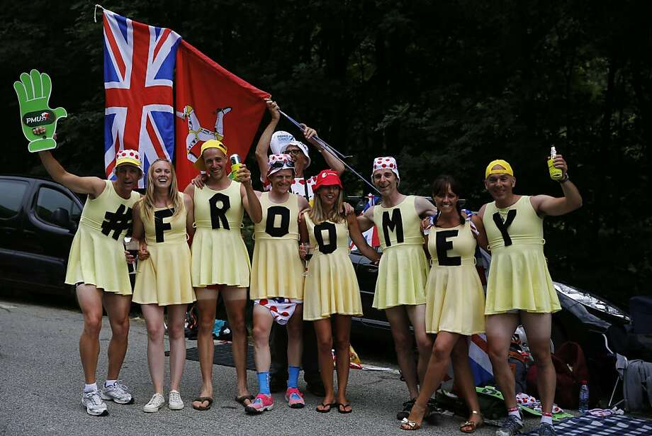 Froomey's groupies: The lasses cheering on Britain's Christopher Froome between Gap and Alpe-d'Huez in the Tour de France are known for their bright yellow dresses and five-o'-clock shadow. Photo: Jeff Pachoud, AFP/Getty Images