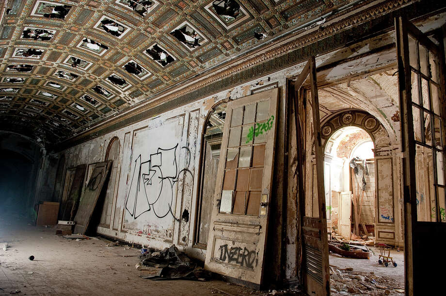 The hallway of the Lee Plaza lobby, an upscale apartment and hotel building opened in 1929 on West Grand Boulevard on May 2, 2013 in Detroit, Michigan. The building was added to the National Register of Historic Places in the 1980s before closing in the 1990s. Photo: Christian Science Monitor, Christian Science Monitor/Getty / 2013 The Christian Science Monitor